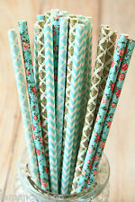 VINTAGE Bouquet di Carta Cannucce 25pc Multi Pack Fantasia Floreale Matrimonio Party Supplies