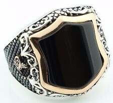 Unique 18gr Solid Sterling Silver Onyx Stone Men's Ring -USA- All Sizes 8-12 K6W