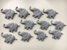 Edible Sugarpaste Grey Elephants Cake Topper - X 12