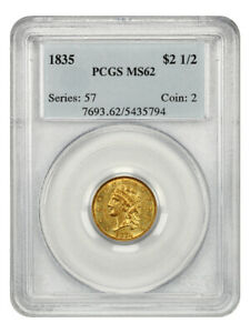 1835 $2 1/2 PCGS MS62 - Beautiful Type Coin - 2.50 Early Gold Coin