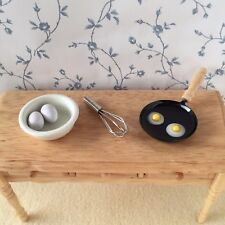 1:12 scale EGGS/BOWL/WHISK/Frying Pan with Eggs Dolls House Kitchen/Cooking