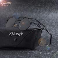 New Vintage Polarized Steampunk Sunglasses Fashion Round Mirrored Retro Glasses