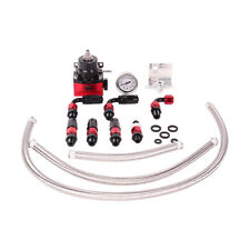 Universal Black + Red Adjustable Fuel Pressure Regulator Kit AN 6 Fitting End
