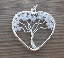 HEART STYLE ROSE QUARTZ TREE OF LIFE WIRE WRAPPED PENDANT STONE GEMSTONE