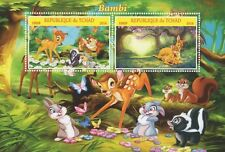 BAMBI WALT DISNEY CLASSIC ANIMATION CARTOON TCHAD 2016 MNH STAMP SHEETLET