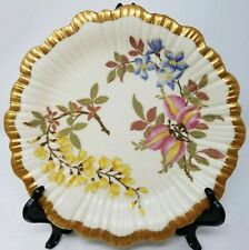 Royal Worcester Blush Ivory Porcelain hand painted scallop edged plate c 1887