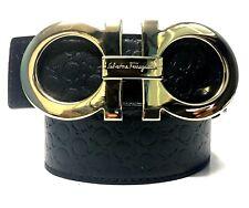 Salvatore Ferragamo 36 Black Leather Belt XL Gold Buckle Fashion Designer