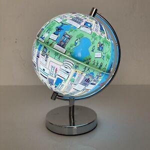 Unusual Illustrated New York City NYC Map Illuminated Globe Lamp Night Light VGC