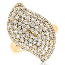 Wide Cluster Cocktail Right Hand Ring 14K Yellow Gold 1.46C Wavy Pave Diamond