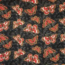 FAT QUARTER KIYOMI BUTTERFLY BLACK METALLIC RED ROOSTER FQ COTTON CRAFT FABRIC