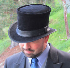 BLACK LEATHER & VELVET ENGLISH VINTAGE STYLE MENS FORMAL WEAR WEDDING TOP HAT