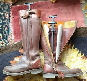 Women's zip-up leather Riding Boots, size 41, brown and red, stiffeners included