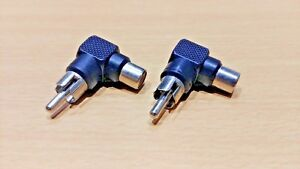 1 PAIR - Right Angle RA R/A - RCA Phono Cinch Adapter Connector (L Shape)