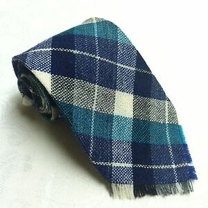White & BLUE PLAID 100% WOOL NECK TIE Woven by Indians Antique 1940s Collector