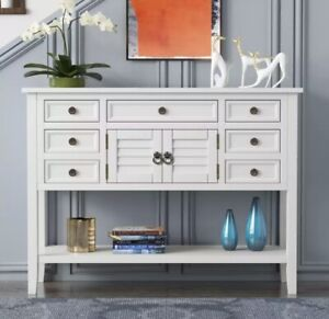 White Solid Wood Console Table, Entry Hall Table, Farmhouse, Contemporary