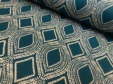 Art Deco Damask Rhombus Diamond Print Fabric Floral Curtain 140cm wide Teal Blue