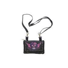 Genuine Leather Purse Belt Bag Studded Pink Purple Skull Motorcycle
