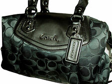 Coach Ashley Signature Satchel Handbag F19242 Black New with Tags