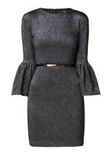 NEW Ted Baker 5 US 14 XL Dress Hanneh Black Metallic Bell Sleeve Cocktail Party