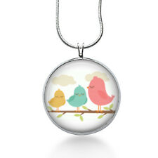 Birds necklace/ 3 Pink Birds on branch/ bird pendant/ bird on branch /pink bird
