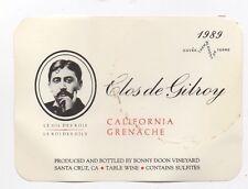 Original Vintage 1989 CLOS DE GILROY Wine Label Bonny Doon Alfred Jarry  Ubu Roi