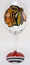 Chicago Blackhawks Artisan Hand Painted Stemed Wine Glass Large Ships Fast!