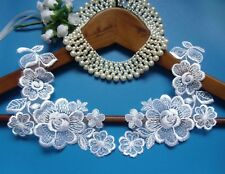 """7"""" A Pair White Embroidered Flowers Lace, Wedding Bridal Collar-Sa173"""