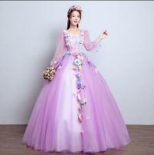 Chic Elegant Wedding Dress Colorful Flowers Bridal Gown Princess bubble Skirt