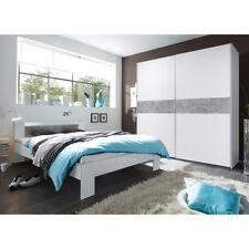 Schlafzimmer Set Victor 2 Vega Schwebetürenschrank und Bett in weiß und Beton