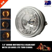 "7.5"" Front H4 Halogen Headlight Head Light Lamp with 26 LED Signals For Harley"
