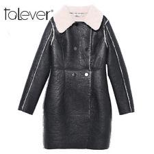 Winter Faux Leather Warm Long Trench Coat Cashmere Black Fur Collar Plus Size4xl