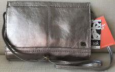 The Sak Iris Pewter Metallic Leather Cross Body Purse/Clutch MSRP: $ 119.00 NWT