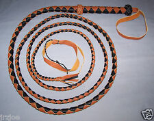 12 Foot 4 Plait  BLACK AND TAN LEATHER BULLWHIP INDIANA JONES STYLE  (bull whip)