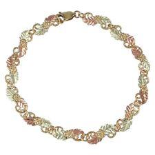 Tri-color 10K Black Hills Gold Grapes And Leaves Bracelet