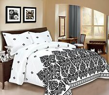3pc Damask Bedspread Size King, Double Silver, Black, White, Burgundy, Blue Sale