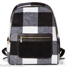 ADAM LIPPES x Target 'Black & White Buffalo Plaid' Shearling Backpack **NWT**