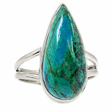 Chrysocolla-Perú 925 Sterling Silver Ring Jewellery UK T US 9.5