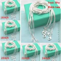 5Pcs 1mm Hot Solid Silver Snake Chains For Necklace Pendant Jewellery 16-24""