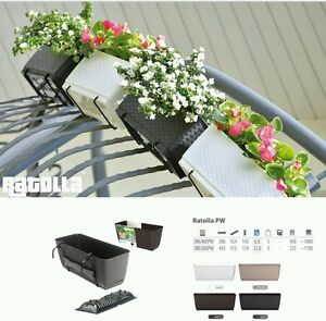 HQ Ratolla flower pot with hangers,38.6 cm balcony, window box 4 colours rattan