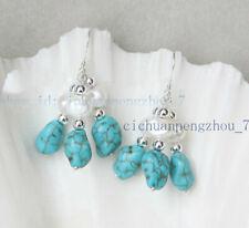 Irregular Turquoise Beads Dangle Hook Earring Pretty 7-8mm White Baroque Pearl &