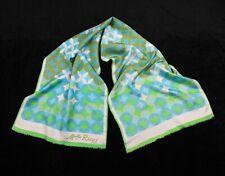 Vintage NINA RICCI Melle 100% Silk Scarf Print Circles Geometric Blue Green Mod