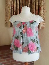 CREAM BLUE SHEER SHOULDER SWING CRINKLE TOP  FROM NEXT SIZE 18  NEW