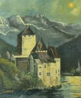 Vintage Original Oil Painting Folk Art Primitive European Castle Landscape