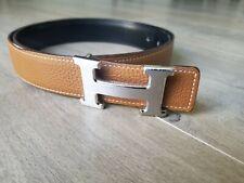 Hermes Tan Black Reversible Belt Silver Buckle