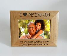 Grandad Photo Frame - I heart-Love My Grandad 6 x 4 Photo Frame - Free Engraving
