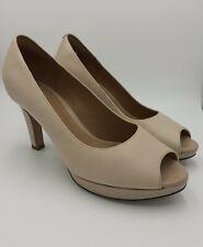 Clarks Artisan UK 5D Delsie Britta Peep Toe Heels Smart Nude Cushioned Shoes