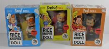 SET OF 3 KELLOGG'S RICE KRISPIES SNAP CRACKLE POP DOLLS TALBOT TOYS (1984) NRFB