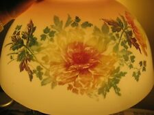 Antique Victorian Light Fixture Parlor Glass Lamp Shade~Peony Dahlia Floral