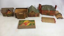 1940's Built Rite Litho Cardboard Doll House TRAIN Fire Station School Village