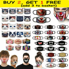 3D-Print Funny Face Mask Protective Covering Washable-Reusable Adult Unisex US